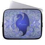 Deep Blue Fantasy Scroll Dragon Laptop Sleeve