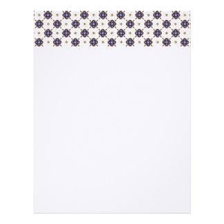 Deep blue flowers pattern letterhead