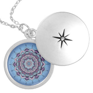 Deep Blue Glow Mandala ID361 Locket Necklace
