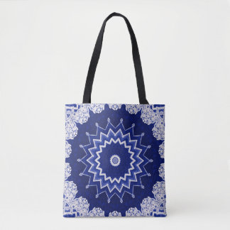 Deep Blue Lace Accents Pattern Custom Tote Bag