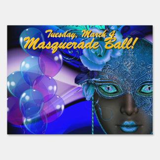 Deep Blue Masquerade Ball! Party Sign
