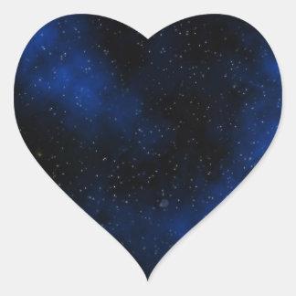 Deep Blue Milky Way Stars Galaxy Solar System Heart Sticker