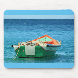 Deep Blue Ocean with Colorful Boat Mouse Pad