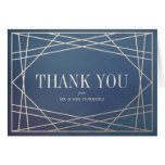 Deep Blue Opaline and Champagne Gold Thank You Card