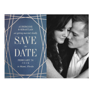 Deep Blue Opaline Wedding Photo Save the Date Gold Postcard