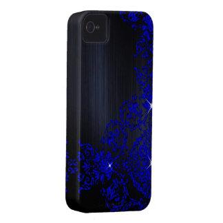 Deep Blue Ornate Damask Case-Mate iPhone 4 Case