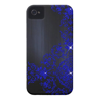 Deep Blue Ornate Damask iPhone 4 Cover