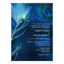 Deep Blue Peacock Feathers Modern Wedding Invites