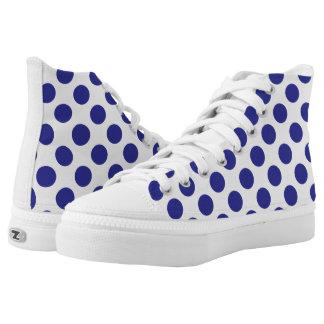 Deep Blue Polka Dots High-Top Sneakers