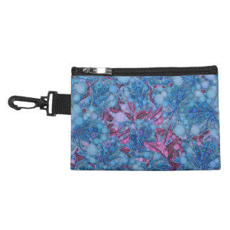 Deep Blue Purple Abstract Flowers Accessory Bag