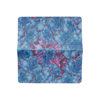 Deep Blue Purple Abstract Flowers Checkbook Cover