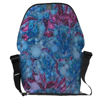 Deep Blue Purple Abstract Flowers Courier Bag