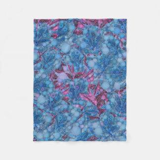 Deep Blue Purple Abstract Flowers Fleece Blanket