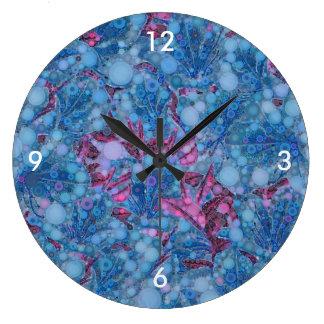 Deep Blue Purple Abstract Flowers Large Clock
