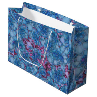 Deep Blue Purple Abstract Flowers Large Gift Bag