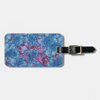 Deep Blue Purple Abstract Flowers Luggage Tag