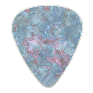 Deep Blue Purple Abstract Flowers Pearl Celluloid Guitar Pick