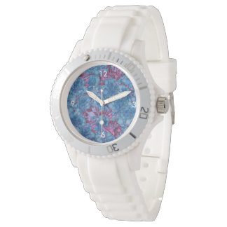 Deep Blue Purple Abstract Flowers Watches