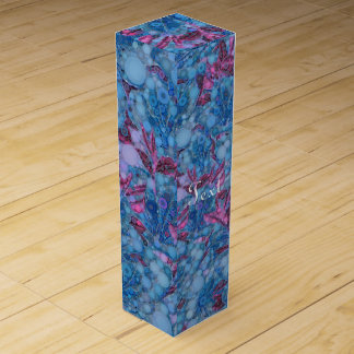 Deep Blue Purple Abstract Flowers Wine Box