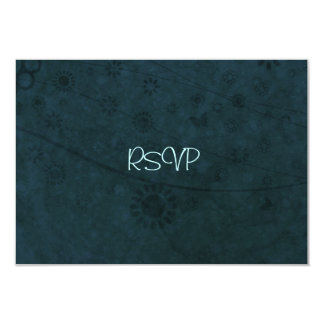 """Deep Blue Retro Flowers and Butterflies Abstract 3.5"""" X 5"""" Invitation Card"""