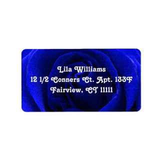 Deep Blue Rose Customizeable Address Label