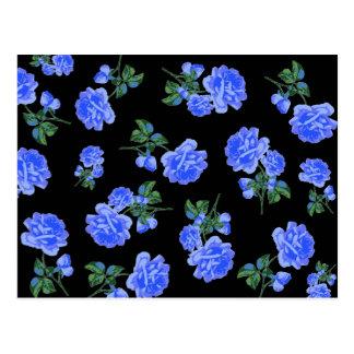 Deep Blue Roses flower pattern on black Post Card