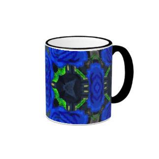 Deep Blue Roses Ringer Coffee Mug