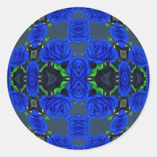 Deep Blue Roses Round Sticker