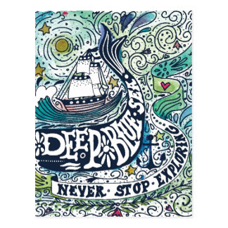 Deep Blue Sea |Never Stop Exploring Postcard
