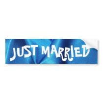 Deep Blue Silk Effect Wedding Bumper Sticker