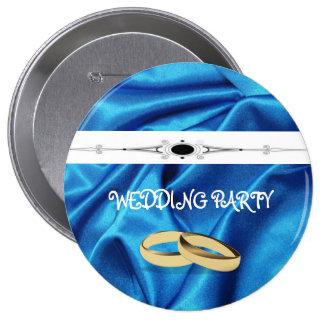 Deep Blue Silk Effect Wedding 4 Inch Round Button