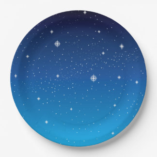 Deep Blue Starry Night Sky Paper Plate