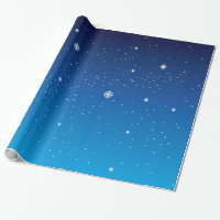 Deep Blue Starry Night Sky Wrapping Paper