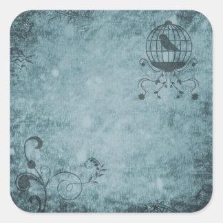 Deep Blue Steampunk Bird Cage Floral Stickers
