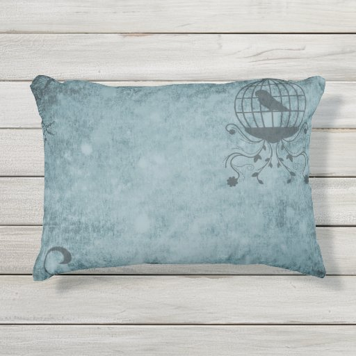 Deep Blue Steampunk Bird Cage Outdoor Pillow