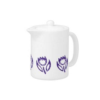 Deep Blue Tulip Garden Teapot