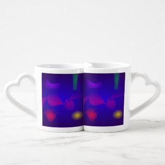 Deep Blue Unstable Abstract Composition Couples' Coffee Mug Set