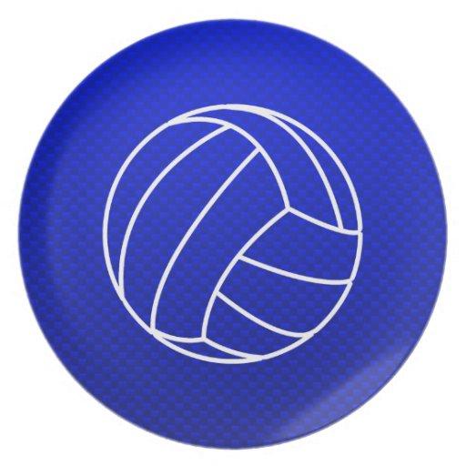 Deep Blue Volleyball Dinner Plates
