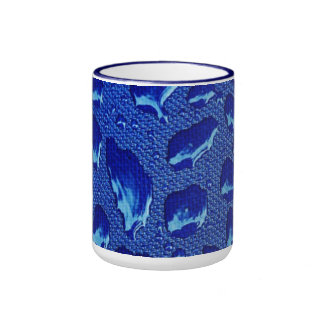 Deep Blue Water Droplets Ringer Mug