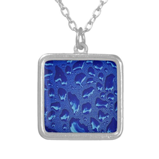 Deep Blue Water Droplets Silver Plated Necklace