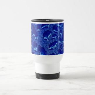 Deep Blue Water Droplets Travel Mug