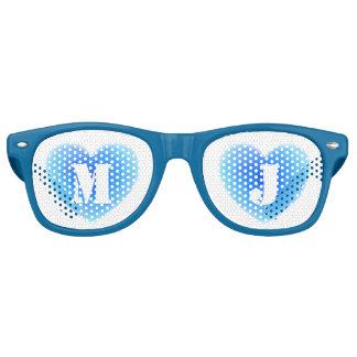 Deep Blue Water Heart Personalized Monogram Love Retro Sunglasses