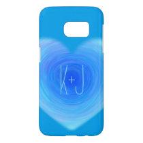 Deep Blue Water Heart Personalized Monogram Love Samsung Galaxy S7 Case