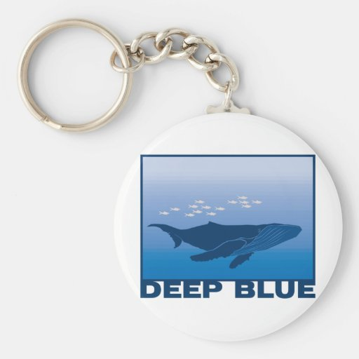 Deep Blue Whale Basic Round Button Keychain