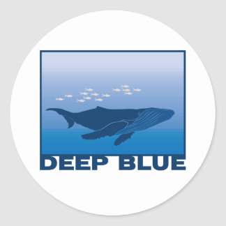 Deep Blue Whale Classic Round Sticker