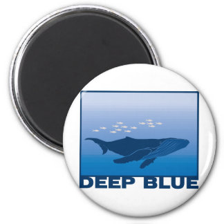 Deep Blue Whale 2 Inch Round Magnet