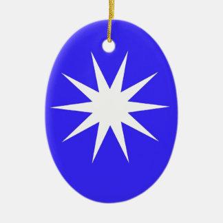 Deep Blue White Star Ceramic Ornament