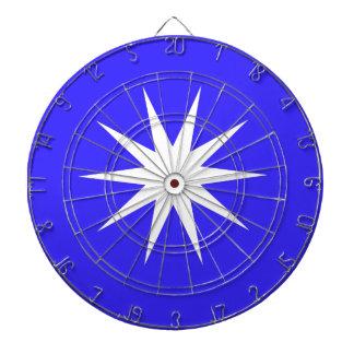 Deep Blue White Star Dartboard With Darts
