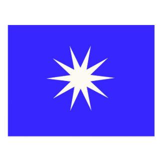 Deep Blue White Star Postcard