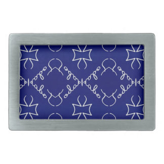 Deep Blue White Thin Geometric Pattern Belt Buckle